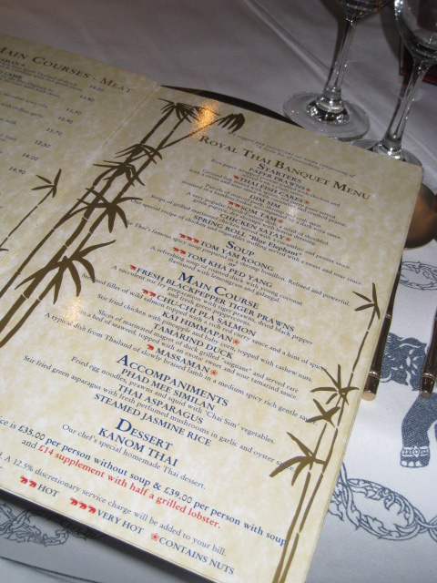 D Elephant Menu Further down the table